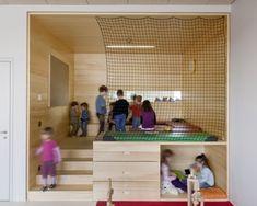 Schulzentrum Krems | NMPB Architekten ZTGmbH Kindergarten Interior, Kindergarten Design, Daycare Design, School Design, Early Childhood Centre, Kids Cafe, Woodworking For Kids, Nursery School, Education Architecture