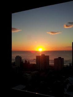 Gold Coast - sunrise at Surfers Paradise Beach - from my hotel room.  #Gold Coast