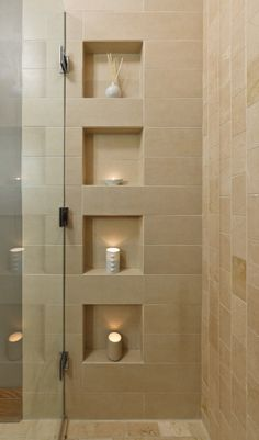 Contemporary bathroom design ideas open shelves glass door shower organizers