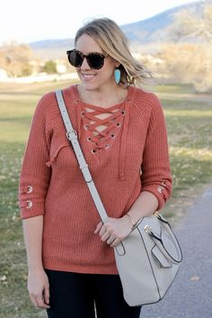 Lace up sweater with dark denim, Sam Edelman Petty booties, and turquoise Kendra Scott earrings; The Weekly Style Edit fashion link up