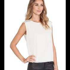 """Alice + Olivia White Baka Sequin Shoulder Top It is more of an off white (""""Antique""""). 96% SILK. 4% SPANDEX. NWT Alice + Olivia Tops"""
