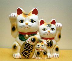 Lucky Cat Duo Bank with Kitten - Maneki Neko family!