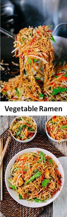 Vegetable Ramen is a simple & easy-to-make meatless Monday meal all instant ramen lovers must try. For you carnivores, just add meat to this vegetable ramen! Ramen Recipes, Veggie Recipes, Asian Recipes, Vegetarian Recipes, Cooking Recipes, Healthy Recipes, Aldi Recipes, Vegetable Ramen, Vegetable Sides