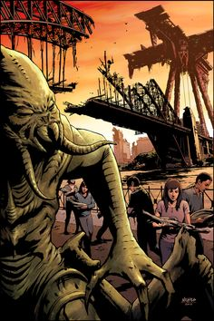 Cover Artwork for Falling Skies: Battle of Fitchburg published by Dark Horse Comics. [link] Falling Skies: Battle of Fitchburg Cover Comic Art, Comic Books, Tv Covers, Sky Tv, Falling Skies, Alien Invasion, Marvel Comics Art, Dark Horse, Battle