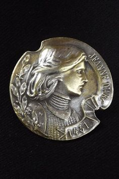 French Antique Silverplate Joan of Arc Button Medal 1 3inches | eBay