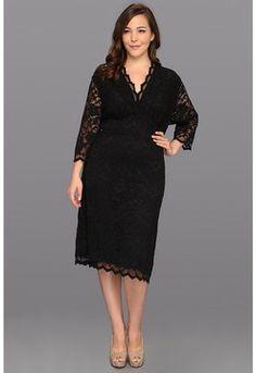 Kiyonna - Scalloped Boudoir Lace Dress (Black Lace/Black Lining) - Apparel on shopstyle.com