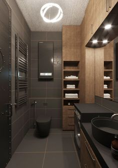 dark bathroom wooden design