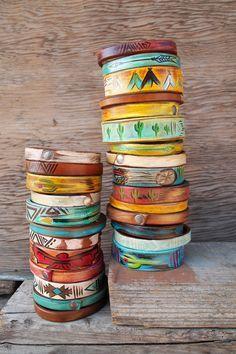 Cool idea ~ painting leather cuff bracelets...