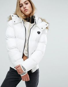 Schott Padded Bomber Jacket With Hood Smooth nylon Quilted finish Padded for extra warmth Hood with faux-fur trim Zip fastening Regular fit - true to size Machine wash 100% Nylon