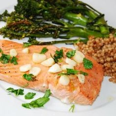 Lemon Garlic Salmon Recipe - ZipList I tried this last night and it was AMAZING! I have never made salmon before and this was so easy. Only change I made was to add Parmesan cheese on top with a minute left to broil.