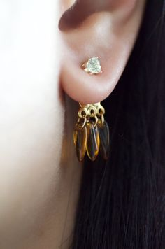 Trendy ear jacket earrings with Zirconia stone and Japanese beads. #Earrings