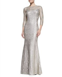3/4-Sleeve Scoop Neck Lace Gown, Mocha by Kay Unger New York at Neiman Marcus.