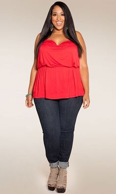 Plus Size Top at www.curvaliciousc... Sizes 1X-6X   Part of our Fuerza collection, guest designed by Latina spokes-model and star of Nuvo TV's Curvy Girls, the Valentina Tank is perfect with jeans for a casual look or dressed to the nines for something more sophisticated. It also pairs great with any one of our maxi skirts!