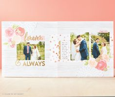 Cut Above™ Layout Kit — Forever & Always - photo provided by CTMH Corporate Wedding Scrapbook Pages, Vintage Scrapbook, Mini Scrapbook Albums, Scrapbook Page Layouts, Mini Albums, Picture Layouts, Pocket Cards, Wedding Album, Layout Inspiration