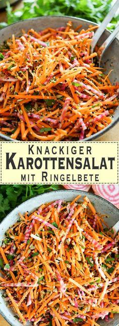 Ein Karottensalat mit Ringelbete sorgt für Farbe auf dem Tisch. Viel mehr geht fast nicht. Dazu ist er knackig frisch und voller guter Nährstoffe. Damit der Farben-Mix auch gut durchgemischt ist, h…