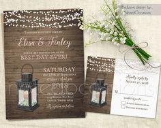 Items Similar To Rustic Wedding Invitations Lantern Invitation Set Country Babys Breath Barn Wood Printable Template