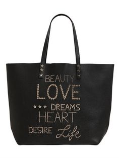 RED VALENTINO - LETTER STUDS GRAINED LEATHER TOTE BAG - BLACK
