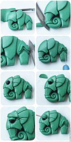 Интересные идеи для вдохновения! из интернета. Steam punk FIMO elephant step 3