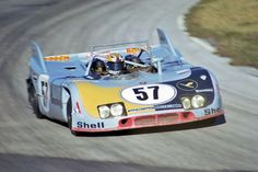 The Reinhold Joest Porsche 908/03 leaving the infield and entering the high banks. The car suffered a variety of problems including a fire during qualifying. Fred Lewis photo.