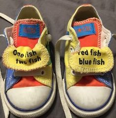 Boys Girls Converse All Star Dr. Seuss Sneakers One Fish Two Fish Size 6  Infant