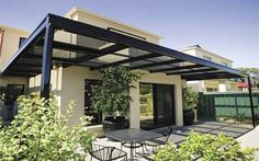 modern #pergola - like the squared-off ends and #laserlight clear #roofing sheets.