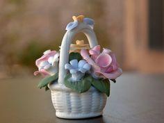 Easter / Spring Floral Basket Miniature  Bisque Porcelain Pastel Flowers