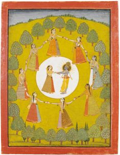 Miniature indienne : Krishna dansant avec Radha, Inde, Rajasthan, XIX<sup>ème</sup> siècle   lot   Sotheby's