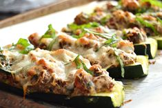Low Carb Stuffed Zucchini with Vension, Ricotta & Spinach are packed full of amazing, cheesy, Italian flare and make a quick & easy weeknight keto meal! Ground Venison, Granola Girl, Stuffed Zucchini, Venison Recipes, Best Comfort Food, Italian Dishes, Savoury Dishes, Weeknight Meals, Ricotta