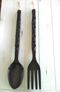 Extra Large Wooden Spoon And Fork Wall Decor/34 Or 86cm