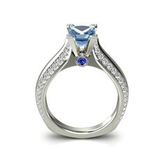 The Aurora Ring customized in Blue Topaz, Blue Sapphire, Diamond and White Gold