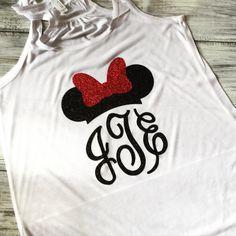 Minnie Mouse Ears Monogram tank or Tshirt by hopestafford on Etsy