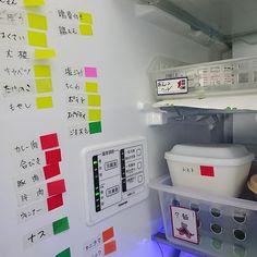 女性で、3LDKのイベント参加/アイデア/ポスト・イット/3M/冷蔵庫/キッチン…などについてのインテリア実例を紹介。「保存容器のラベリングにポスト・イットの 濡れに強いフィルムタイプを使っています  中身が無くなれば冷蔵庫の壁面に… 外から見えないので生活感払拭?にも◎  「夕飯」や「朝食セット」などカゴで分類し そのまま出し入れしやすようにも工夫しています」(この写真は 2016-03-13 14:51:35 に共有されました)