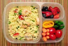 Lemon Couscous Salad with Sauteed Shrimp Bento