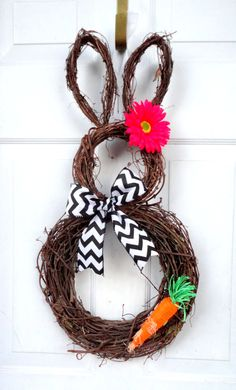 Chevron Bow with Carrot Bunny Wreath   Easter by SparkleWithStyle