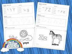 Y Z Alphabet Worksheet