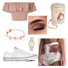 """Lola"" by ruby-eliza-lewis ❤ liked on Polyvore featuring Miss Selfridge, Converse, Betsey Johnson and Nine West"