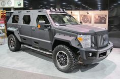 As the ultimate in safety and security, the U.S. Specialty Vehicle Rhino GX is a monster of an SUV. With a modified Super Duty frame and chassis (both shortened and reinforced), the custom, heavy-duty 10-lug axles are designed to hold up to the most punishing and brutal terrain. Powered by Ford's 6.8-liter 30-valve V-10 gas engine, the Stealth Black survival vehicle has a gross vehicle weight rating of 14,000 pounds