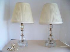 Vintage 1940's Lead Block Glass Vanity Lamps Retro Hollywood Regency Luxury Vintage Home Decor Lighting