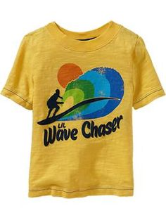 surf slang graphic tee for baby in smiley yellow
