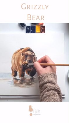 Watercolor Grizzly - Time lapse painting video - Care - Skin care , beauty ideas and skin care tips Watercolor Illustration Children, Watercolor Paintings Of Animals, Bear Watercolor, Watercolor Art Lessons, Watercolor Sketchbook, Watercolor Artists, Watercolor Drawing, Painting Lessons, Animal Paintings