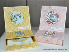 - Easel Card with Drawer - JanB UK Top Stampin' Up! Box Cards Tutorial, Card Tutorials, Fun Fold Cards, Folded Cards, How To Make Box, Easel Cards, Small Cards, Stamping Up Cards, Scrapbooking