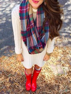 Pretty! Loving the sweater dress, hunter boots pop of color and matching scarf! With big earnings!