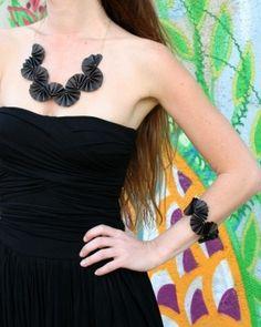 folded leather jewelry - etsy HilaRawetKarni