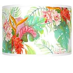 Synthesis giclee glow lamp shade 135x135x10 spider style a sleek and streamlined drum shaped lamp shade with a handsome island floral pattern mozeypictures Gallery