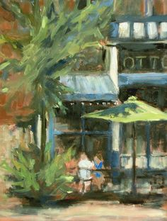 """laid back lunch in Mainstrasse by Margie Lakeberg Oil ~ 8"""" x 6"""""""