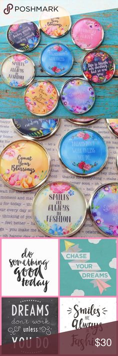 """Inspirational quote brooch set This listing is for 8 brooches. Have 1 for everyday of the week, plus 1! Each brooch has a different motivational // inspirational quote. See last 2 photos for the different quotes!❤️ These are a lovely way of showing off your positive side when when you need a little uplifting❤️ Brooches measure 1"""" around. Photos are sealed & protected with resin. Pins are securely attached the backs. Handmade by me & brand new. Tags: boho, floral, gypsy, spring, summer, gift…"""