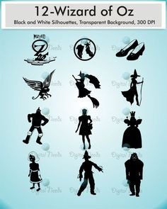 12 Wizard of Oz Silhouettes / png and SOURCE files by DigitalNeeds: