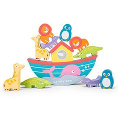 This fun set by Le Toy Van comes with ten wooden animals and a beautiful rocking ark featuring a pink whale for children to develop their hand-eye coordination. Toddler Toys, Kids Toys, Van Kitchen, Blocks For Toddlers, Stacking Toys, Wooden Baby Toys, Toddler Development, Wooden Animals, Activity Toys