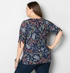 Botanical Ruched Sleeve Top - Avenue