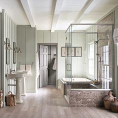 Get inspired by Modern Farmhouse Bathroom Design photo by Wayfair. Wayfair lets you find the designer products in the photo and get ideas from thousands of other Modern Farmhouse Bathroom Design photos. Bathroom Spa, Bathroom Interior, Master Bathroom, Bathroom Trends, Bathroom Ideas, Bathroom Designs, Relaxing Bathroom, Remodel Bathroom, Bathroom Renovations